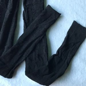Black Fishnet Patterned Tights Open Foot